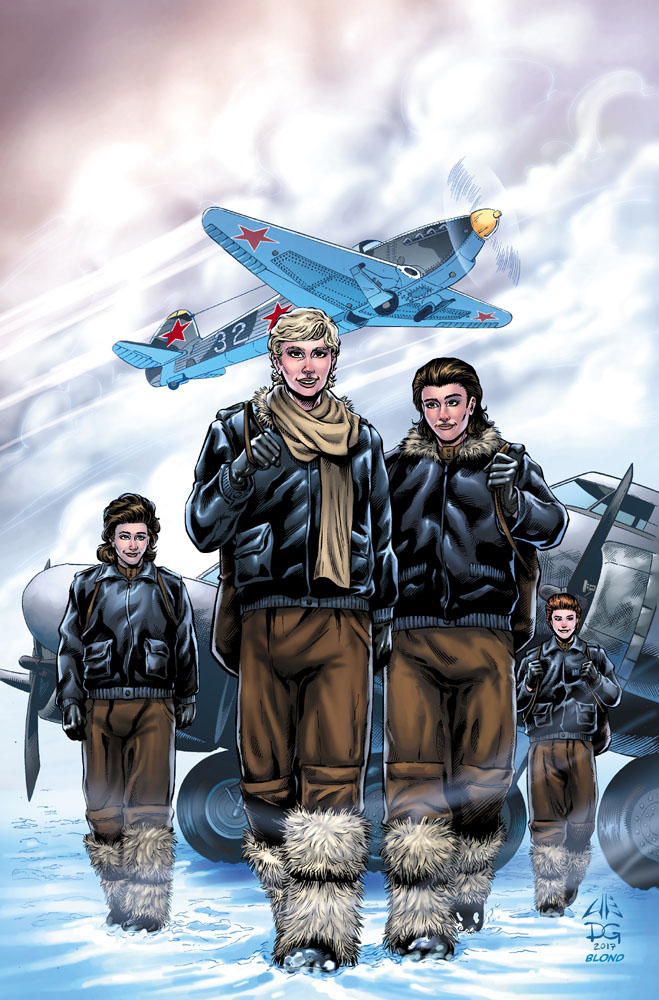 Comic Book Cover of four female fighter pilots